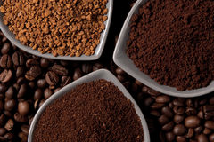 Three types of coffee Stock Image