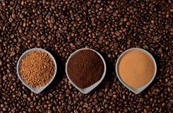 Three types of coffee Stock Photos