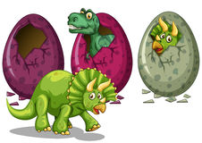Three types of dinosaurs hatching eggs Stock Photography