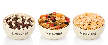 Three types of flakes for a breakfast Stock Images