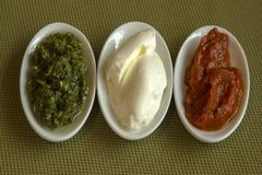 Three types of food with the colors of the Italian flag. Royalty Free Stock Image