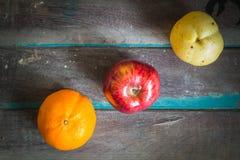 Three types of fruit arranged Stock Photo