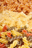Three types of fusilli pasta Stock Image