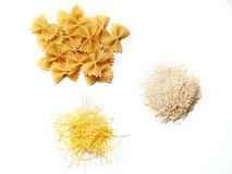Three types of healthy food. Rice and pasta isolated on white background Royalty Free Stock Photos