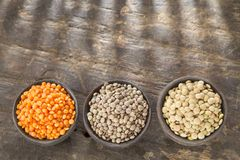 Three types of lentils - Lens culinaris Royalty Free Stock Photo