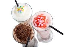Three types of milkshake drink Stock Images