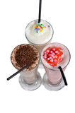 Three types of milkshake drink Royalty Free Stock Photos