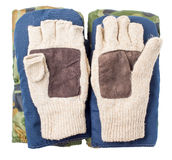 Three types of mittens, winter, warm Stock Image