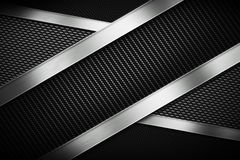 Three types of modern carbon fiber with polish metal plate. Texture material design for background, wallpaper, graphic design royalty free illustration
