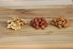 Three types of nuts Royalty Free Stock Image