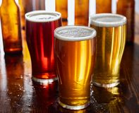 Free Three Types Of Beer, Red Ale, IPA, And Stout Stock Photo - 143864670