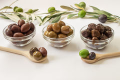 Three types of olives. Royalty Free Stock Photography