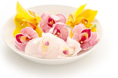 Three types of orchid on plate Stock Photo