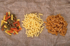 Three types of pasta Royalty Free Stock Photos