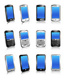 Three types of phones in two and three dimensions Royalty Free Stock Photo