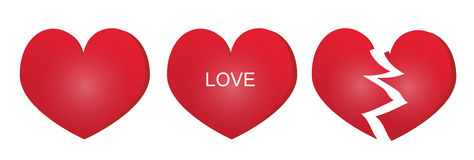 Three types of red heart. Classical, broken and with an inscription love. Eps format is available Royalty Free Stock Photography