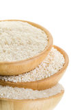 Three types of rice in a wooden bowl  (close-up) Stock Photo