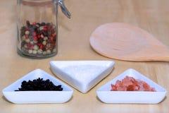 Three types of salt Royalty Free Stock Photos