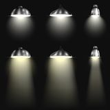 Three Types of Spotlights With Beams Stock Photography