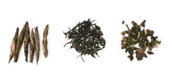 Three types of tea in row Stock Photography
