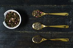 Three types of tea in spoons - green, black and Rooibos royalty free stock image