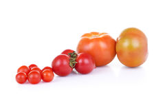 Three types of tomato. With white background Stock Images