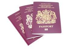 Three UK Passports. Three United Kingdom of Great Britain and Northern Ireland Passports Stock Images