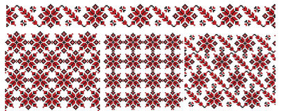 Three ukrainian texture embroider Royalty Free Stock Photos
