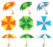 Three umbrella. Three colored umbrella red green blue Stock Illustration