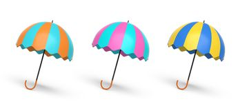 Three umbrellas 3d rendering. Three colorful umbrellas isolated in a white background 3d rendering Stock Photos