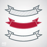 Three undulate vector festive ribbons, classic design stripe. Decorative curvy element - winner conceptual emblems.  Royalty Free Stock Image