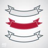 Three undulate vector festive ribbons, classic design stripe. Decorative curvy element - winner conceptual emblems.  Royalty Free Stock Image