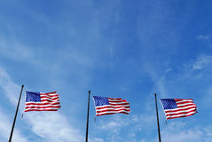 Three United States Flags Royalty Free Stock Photography