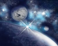 Three unknown planets in an immense space. stock illustration