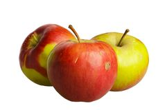 Three unpretentious apples Royalty Free Stock Images