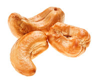 Three unshelled roasted cashew nut, isolated Stock Images