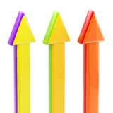 Three upgoing colorful glossy arrows isolated Stock Photo