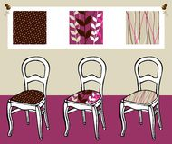 Three upholstered chairs Royalty Free Stock Photos