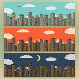 Three Urban Landscape Banners. Summer City Background. Vector Illustration. 3 Urban Landscape Banners. Summer City Background. Flat Design. Concept Icon Royalty Free Stock Photography