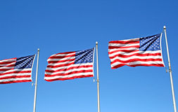 Three US flags royalty free stock photography