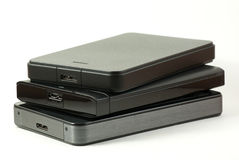 Pile of external USB hard drive Royalty Free Stock Photo