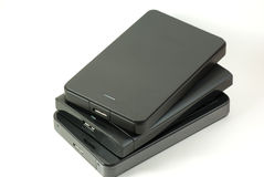 Pile of external USB hard drive Stock Photos