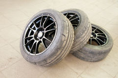Three used wheels royalty free stock photography