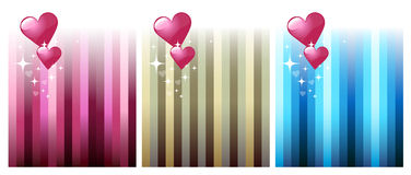 Three Valentine Cards. Three cute valentine cards with hearts Royalty Free Stock Photo