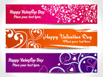Three Valentine Heart Banner Royalty Free Stock Image