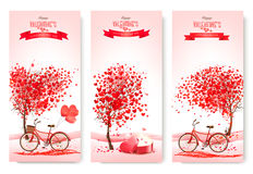 Three valentine`s day banners with pink trees and hearts. Royalty Free Stock Images