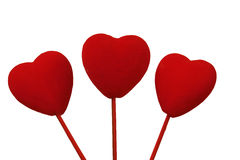 Three Valentines. A picture of three beautiful red valentines Royalty Free Stock Photos