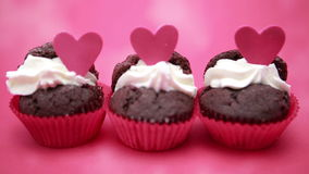 Three valentines cupcakes Royalty Free Stock Images