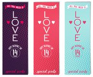 Three Valentines day flyer for party Royalty Free Stock Image