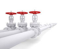 Three valves on the pipeline Royalty Free Stock Photo